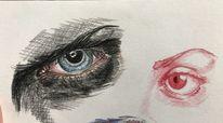 Gesicht, Buntstiftzeichnung, Rot schwarz, Zeichnung