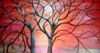 Baum, Sonne, Sonnenuntergang, Malerei