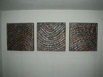 Holzbildträger, Kn17, Triptychon, Mischtechnik