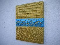Silberblau, Acrylmalerei, Auf holzbildträger, Gold