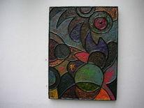 Mischtechnik, Rot schwarz, Kupfer, Acrylmalerei