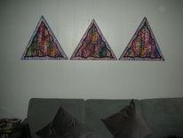 Dreiecke, Holzbildträer, Mischtechnik, Triptychon