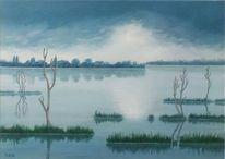Wasser, Acrylmalerei, See, Natur