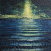 Nacht, Welle, Nachtmeer, Mond