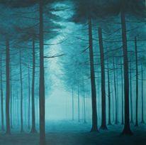 Nadelbäume, Baum, Wald, Malerei