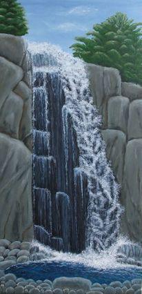Wasserfall, Felsen, Wasser, Malerei