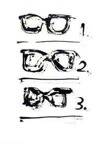 Schwarz, Brille, Malerei