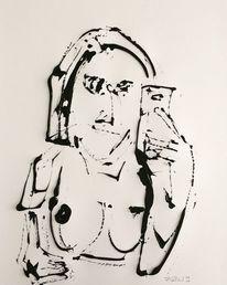 Selfie, Handy, Akt, Zeichnungen