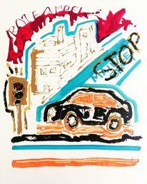 Auto, Stadt, Stau, Malerei