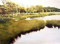 Wasser, Ufer, Mühle, Spiegelung