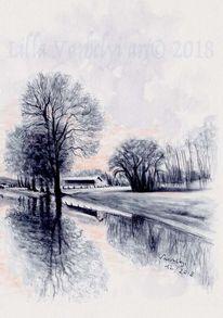 Baum, Tuschmalerei, Spiegelung, Landschaft