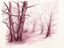 Natur, Tuschmalerei, Monochrom, Naturstudie