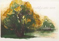 Tuschmalerei, Grün, Baum, Naturstudie