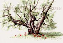 Olivenbaum, Tuschezeichnung, Pflanzen, Natur