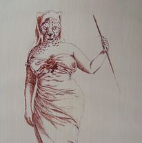 Federzeichnung, Frau, Tiere, Tusche