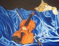 Musik, Katze, Faltenwurf, Blau