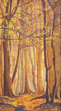 Wald, Herbst, Blattwerk, Lasurtechnik ölmalerei