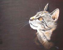 Harzölmalerei, Katzenportrait, Tiere, Katze