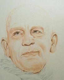 Zeichnen, Tuschezeichnung, Illustration, Johnmalkovich