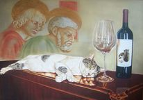 Rotweinflasche, Kommode, Arrangement, Katze
