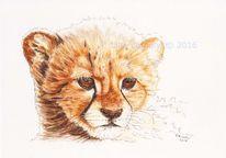 Tuschmalerei, Wildtier, Gepard, Großkatze