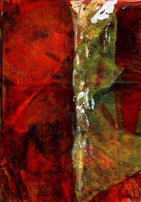 Schicht, Mischtechnik, Rot, Struktur