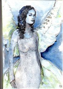 Struktur, Engel, Frau, Blau