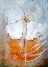 Leichtigkeit, Blumen, Mischtechnik, Vereinfachen