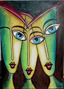 Wandmalerei, Collage, Gold, Ölmalerei