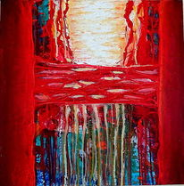 Collage, Abstrakt, Rot, Spachteltechnik