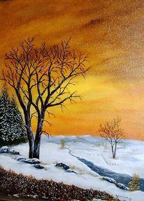 Tanne, Abendstimmung, Ölmalerei, Winterabend
