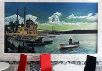 Acrylmalerei, Gastronomie, Holz, Bosporus