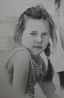 Zeichnung, Farbe im blut, Bleistiftzeichnung, Kind
