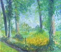 Natur, Sonnig, Landschaft, Ölmalerei