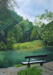 Wald see, Malerei, Gemälde, Waldsee