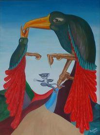 Katze, Vogel, Gesicht, Malerei