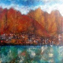 Acrylmalerei, Braun, Divo, Stadt