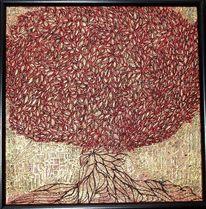 Garten, Baum, Blätter, Relief