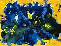 Blau, Gelb, Feuerwerk, Licht