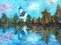 Wolken, See, Kirche, Herbstbäume