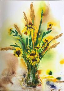 Sonnenblumen, Vase, Sommer, Gelb