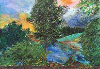 Himmel, Blätter, Landschaft, Blau