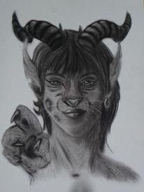 Augen, Kohlezeichnung, Horn, Fantasie