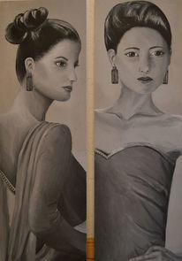Frau, Straß, Schwarz weiß, Malerei