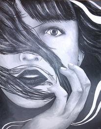 Acrylmalerei, Gesicht, Realismus, Wind