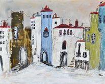 Acrylmalerei, Andalusien, Dorf, Malerei