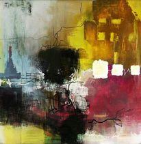 Acrylmalerei, Gebäude, Pink, Braun