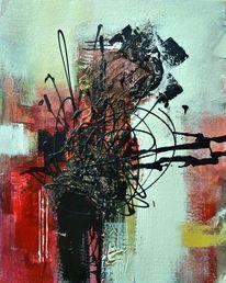 Rot schwarz, Wandgestaltung, Gelb, Acrylmalerei