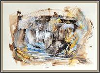 Wasserfall, Felsen, Kaskade, Malerei