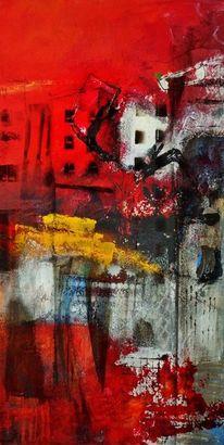 Abstrakt, Blau, Übermalung, Modern